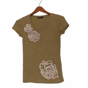 Theme embroidered beads crew neck top shirt gold
